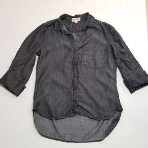 Anthro Cloth & Stone Tencel Chambray Button Top